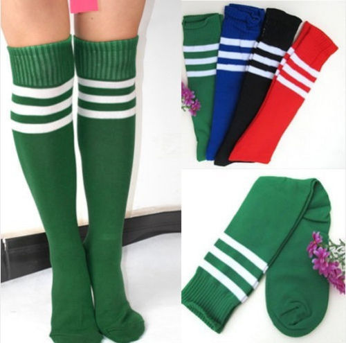 6 Colors Lady Football Striped Long Tube Tube Socks Soccer lacrosse Rugby Sport Knee High Socks free shipping(China (Mainland))