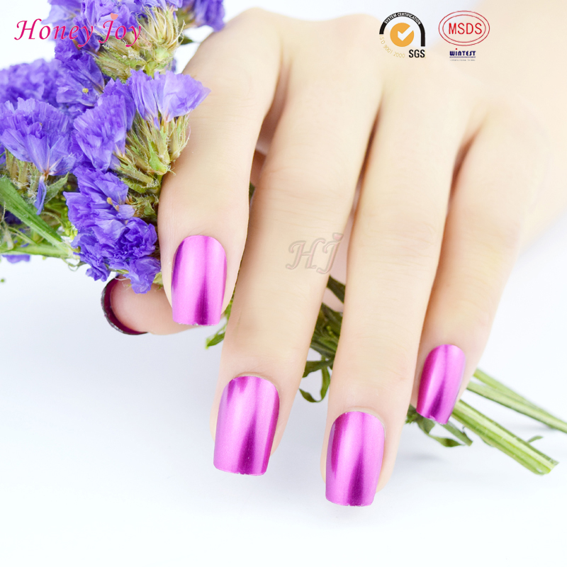 Honey Joy 1pc Purple Color Metallic Effect Soak Off Nail Polish Metal Lacquer 8ml Long Lasting Nail Art Top Manicure Tool(China (Mainland))