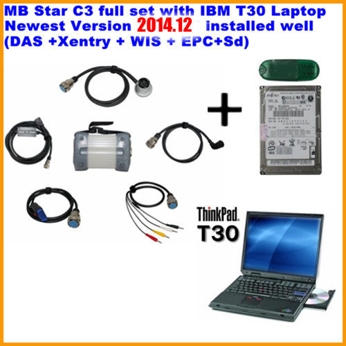 newest 2014.12 Top Rated Mercedes Tester MB Star C3 full set with IB.M T30 Laptop installed well (DAS +Xentry + WIS + EPC+Sd)(China (Mainland))