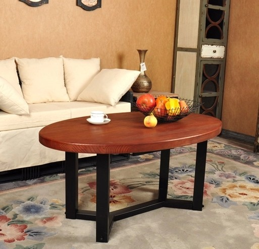 Vintage Casual Coffee Tables: American Vintage Oval Wood Combination, Wrought Iron