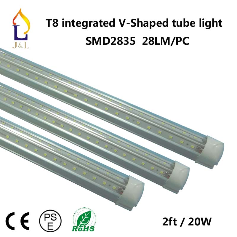 25pcs Free Shipping 20W 2FT T8 Integrated LED Tube V Shape Colour Light 110LM/W SMD2835 96leds/pc 28LM/Led High Quality Light(China (Mainland))