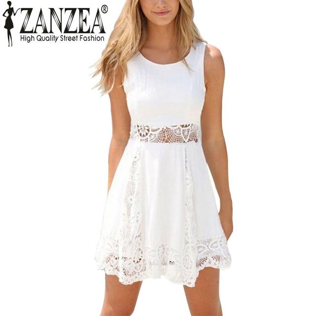 Летний стиль 2016 элегантных женщин свободного покроя твердые кружева без бретелек белое платье сексуальный дамы строки короткие мини платья Большой размер Vestidos