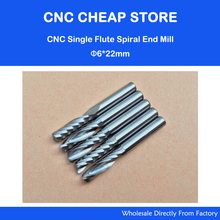 5pcs 6mm 1/4″ High Quality Carbide CNC Router Bits One Single Flute End Mill Tools 22mm