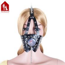 Buy Davidsource Black Leather Rivet Thorns Pin Head Harness Blow Job Mask Adjustable Belt Slave Training Kit Sex Restraint for $12.21 in AliExpress store