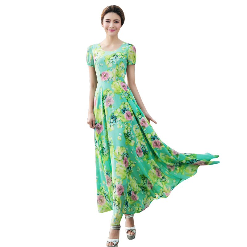 Women Summer Long Chiffon Dresses 2016 Spring New Short Sleeve O-Neck Print Big Size Maxi Dress Robe Longue Femme 2101