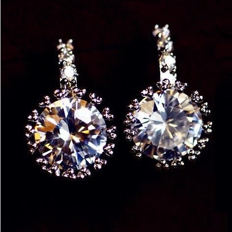 18k gold plated earrings shiny zircon earrings for women new fashion earring wholesale