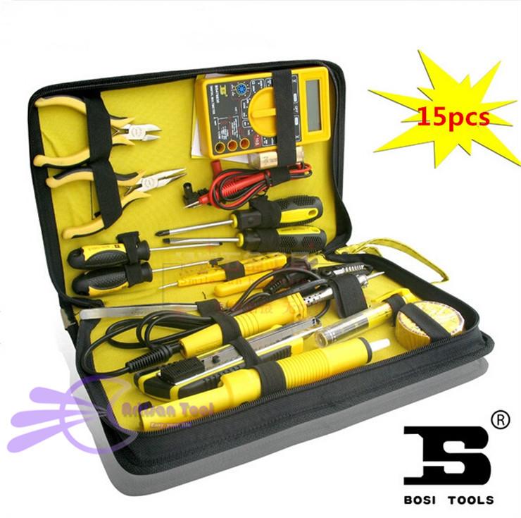 15pcs Home Electronics Repair tools Kit electronic network telecommunications Multimeter+soldering iron+pliers(China (Mainland))