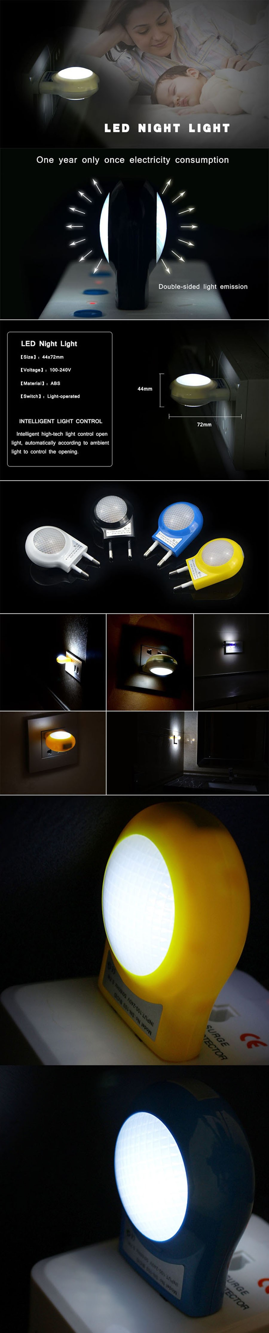 Light sensor led night light 0 7w ac110v 220v sensor for Kids room night light