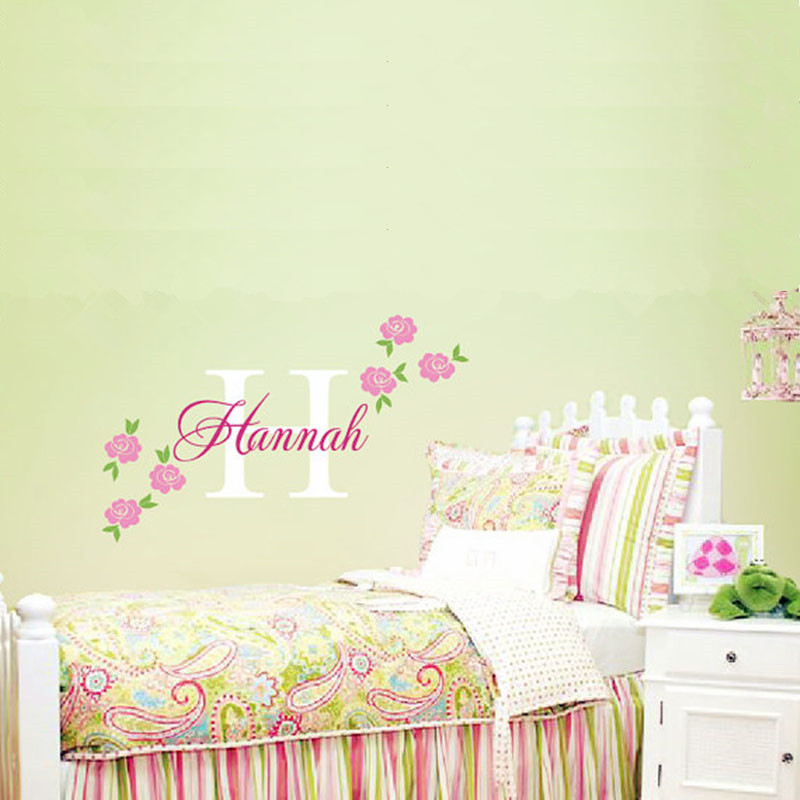 Rose decal custom name wall sticker girl nursery children bedroom wall art decor girls favorite - Wall decor girl nursery ...