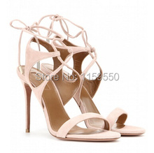 2016 Suede Pink Simple Design Cross Strap Tie Up Sandals Luxury Party Lady Pumps Sweet Strappy Thin Heel High Heels Discount(China (Mainland))