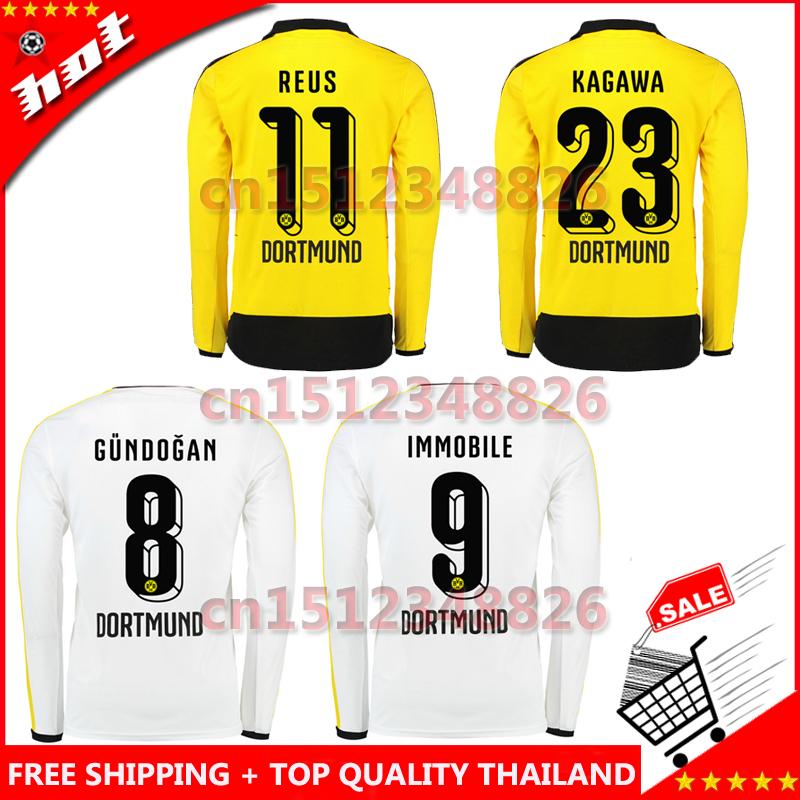 Borussia Dortmund 2015 2016 Home Away Long Sleeve Soccer Jersey 15 16 REUS HUMMELS IMMOBILE football shirt yellow white camiseta(China (Mainland))