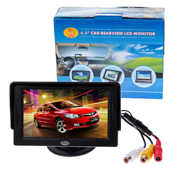 """CAR REAR VIEW KIT 4.3"""" TFT LCD MONITOR DVD/STB/VCD/satellite Mirror Backup Camera 4:3 Screen #DY"""