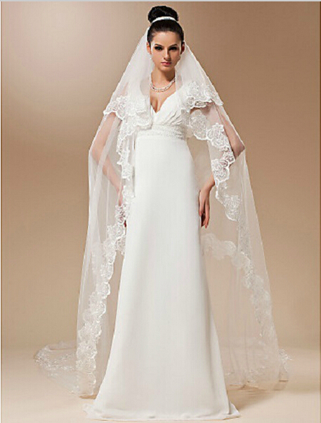 2015 new white lace long wedding dress bridal veils for Wedding dress with veil