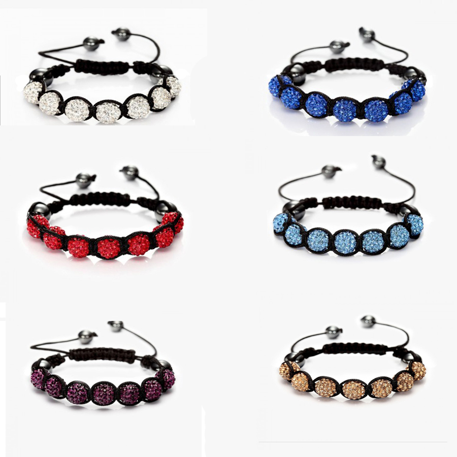 Fashion Shambhala Jewelry New Mix Colors Sales Promotion 10mm Crystal AB Clay Disco 9 Balls Shambala Bracelets(China (Mainland))