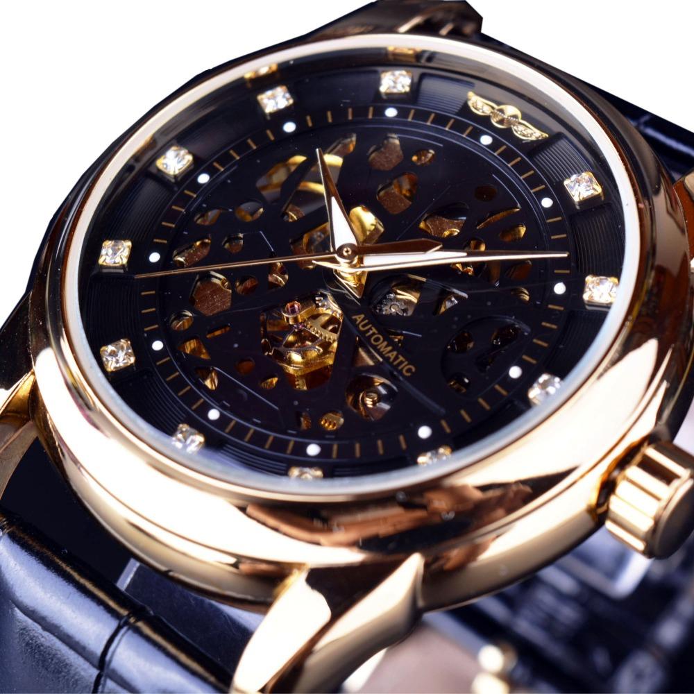 Гаджет  Winner Royal Diamond Design Black Gold Watch Montre Homme Mens Watches Top Brand Luxury Relogio Male Skeleton Mechanical Watch None Часы