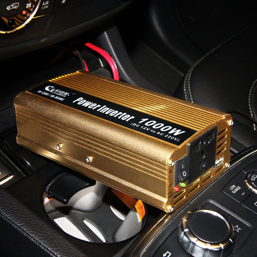 BEAUTY-CAR 1000W Car DC 12V to AC 220V Power Inverter Adapter Converter w/ USB Port - Gold(China (Mainland))