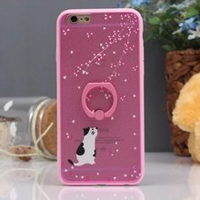 Ring Stand Holder Coque Funda Case for Apple Silk Texture Sakura Rabbit Cat soft frame phone back cover case for iphone6s 6plus