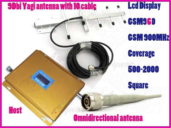 New LCD display GSM960 900Mhz signal booster repeater amplifier Coverage 2000 Sqm+yagi antenna+Omnidirectional antenna(China (Mainland))