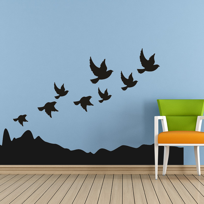 Black Bird and Mountain Personalized DIY Vinyl Decoration Fashion Wall Art Nursery Wall Stickers for Kids Room(China (Mainland))