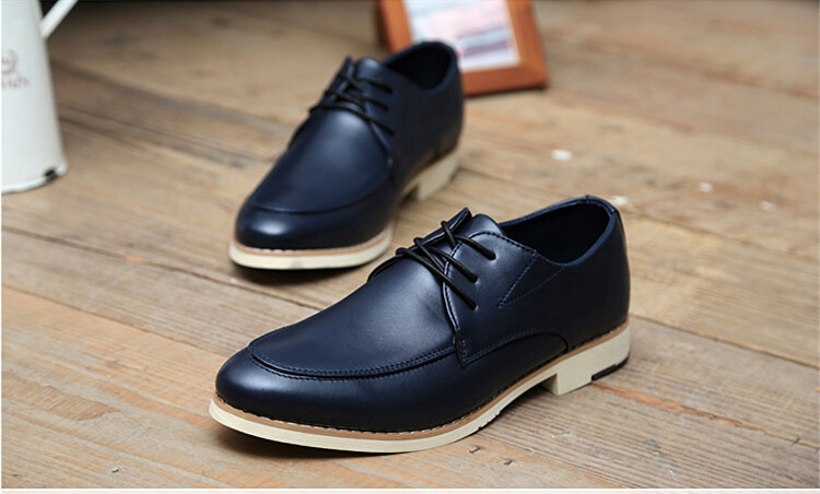 2015 New Comfotrable Lace Up Leather Office Business Dress Shoes Casual Low Top Oxfords Shoes Fashion Solid Retro Ankle Boots