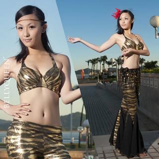 New Black Gold zebra pattern Bra Top and Fishtail Pants 2pcs set Belly Dance(China (Mainland))
