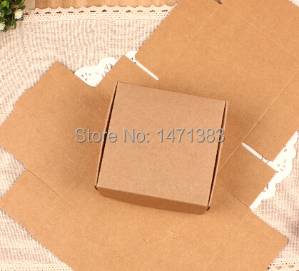 50pcs 8*8*4cm Kraft paper custom gift packaging box Craft carton package for packing handmade soap/candy Free shipping(China (Mainland))