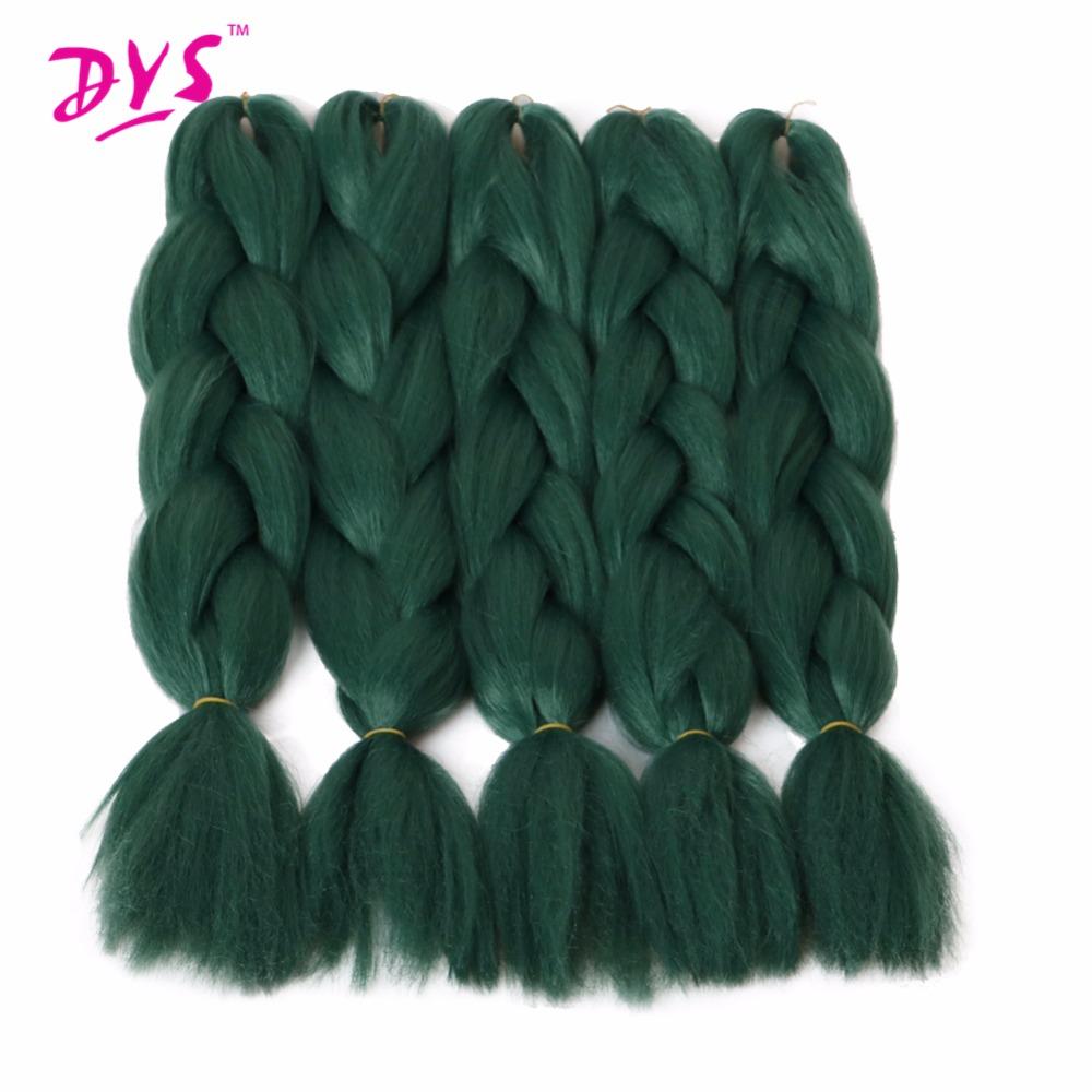 Deyngs Natural Synthetic Braiding Hair 24inch Pure Green Colored Crochet Braids Hair Extension Jumbo Braids Bulk Hair Braiding (4)