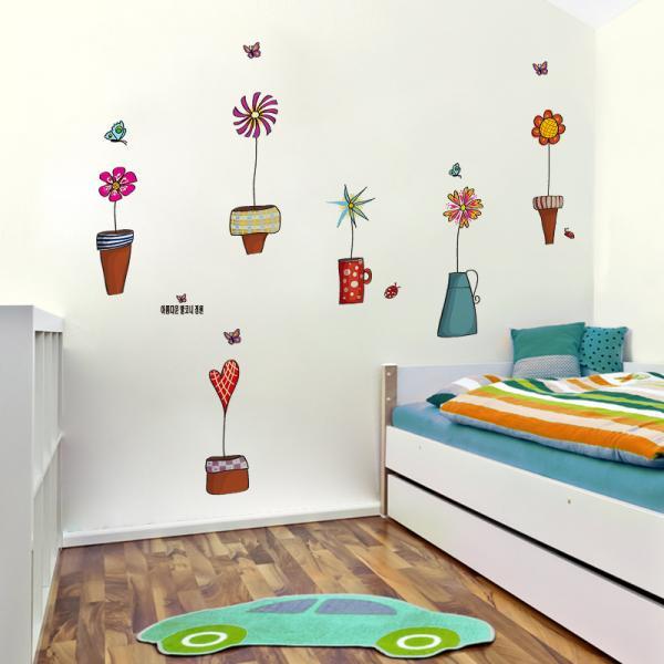Cartoon Flower Butterfly Wall Stickers Decal Mural Art Plants
