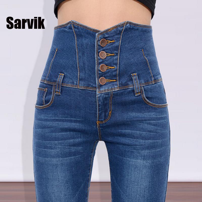 Sarvik High Waist Women 2016 Skinny Jeans Pants Plus Size Ladies Stretch Blue Denim Trousers female Sexy Pencil Pants Hot