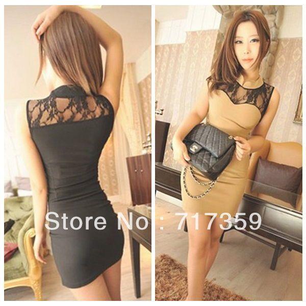 Fashion !!! 1pc Free Shipping New Charming Hollow Lace Women's Sexy Stitching Sleeveless Tight Dress  black / khaki  651898