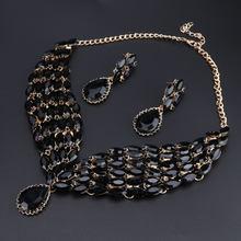 Neue Grüne Kristall Opulente Halskette Ohrringe Set Gold Farbe Schmuck Sets Indische Braut Hochzeit Kostüm Schmuck(China)
