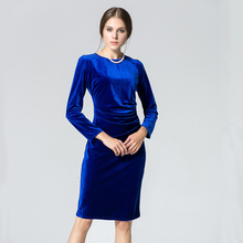 Spring New Fashion Career Dress Elegant Long Sleeve High Quality Designer Brands Women Clothing Gold Velvet Work Dress(China (Mainland))