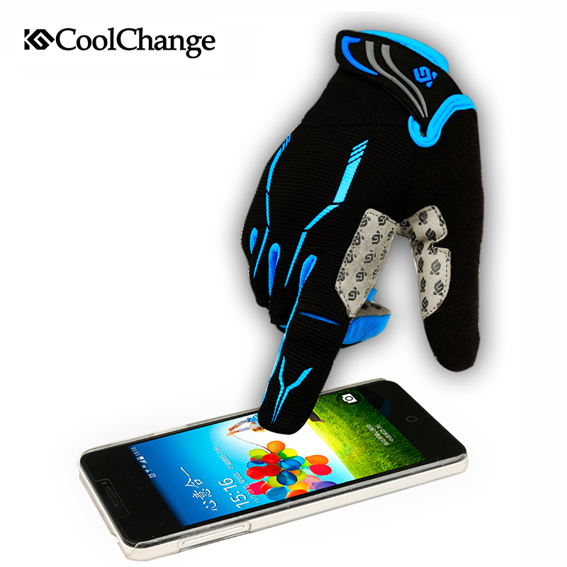 CoolChange 2016 Touch Screen Gel Full Finger Cycling Glove For Man Woman MTB Road bicyle Glove(China (Mainland))