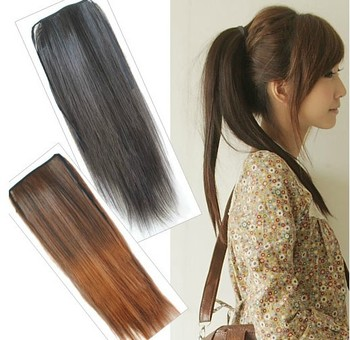 Women Lady Ponytail Synthetic Long Straight Hair Extensions Light Brown Black Dark Brown Pony Tail Free Shipping