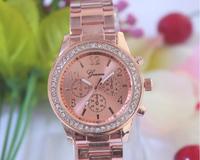 100pcs/lot Excellent Design Ladies Watch Geneva Brand Vogue Gold Color Watch ,Fashion Crystal Quartz Watch,5colors Available