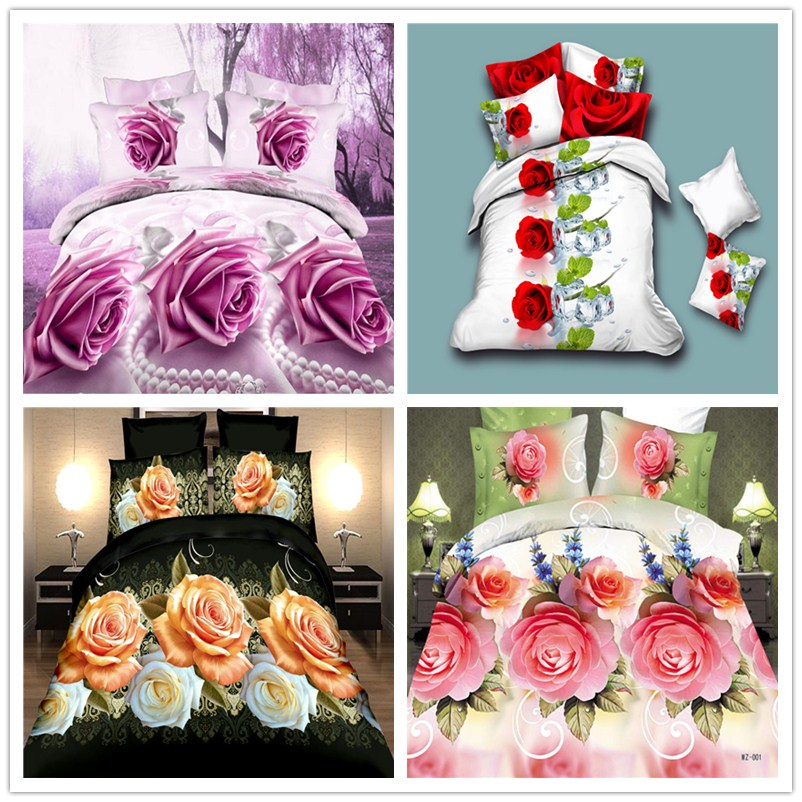 Home Textiles,3D bedding sets Red Rose,King size 4Pcs of duvet cover bed sheet pillowcase,bedclothes,Free shipping New Arrive(China (Mainland))