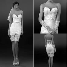 Sweetheart Knee length Sheers Backless Sleeveless Short Wedding Dresses For Woman Appliques Bead Wedding Dress vestido de noiva