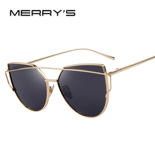 MERRY'S 2016 Fashion Cat Eye Sunglasses Women Classic Brand Designer Twin-Beams Sunglasses Coating Mirror Flat Panel Lens S'7882