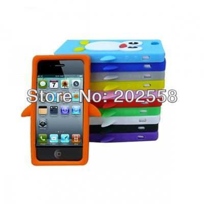 3D Penguin Rubber Gel Silicone Skin Case Cover for iPhone 5 5G promotion(China (Mainland))