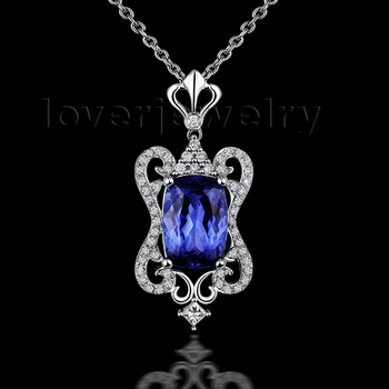 2015 New Arrivals Solid 14Kt White Gold Diamond Cushion 7x9Tanzanite Wedding Pendant For Selling WP068