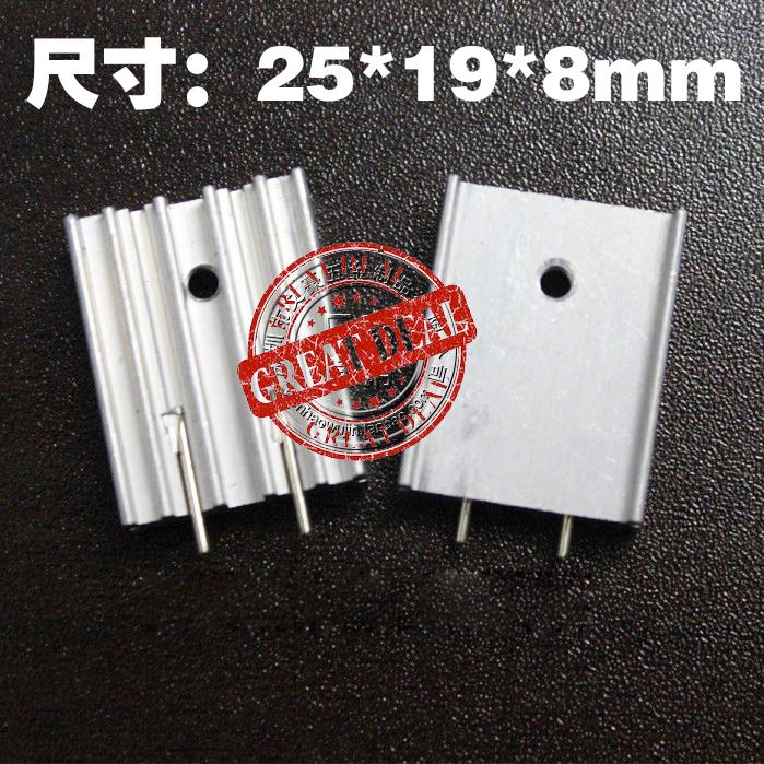 Free Shipping Wholesale 100PCS Aluminum IC heatsink 25*19*8MM TO-220 Heatsink Transistor heat sink Silver with pin<br><br>Aliexpress