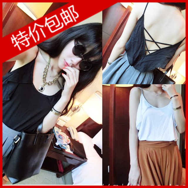 Fashion normic all-match beautiful strap racerback sleeve ruffle spaghetti strap small vest 8111a