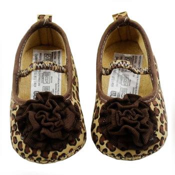 Very Cute Children's Shoe Brown Leopard Dot Baby Shoes Color Leopard Print Flower Soft Sole Baby Sutumn Shoes Girls Warm TX004