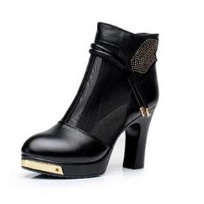 Plus size(33-40)  female genuine leather high-heeled boots women rhinestone cutout cool boots fashion summer boots for women