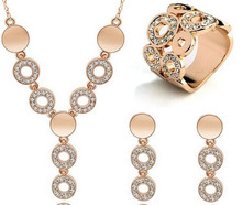 New Free Shipping 3Pcs Jewelry Sets 18K Gold Filled Necklace Earrings Ring For Women Ladies Wedding Party Gifts Circle Design(China (Mainland))