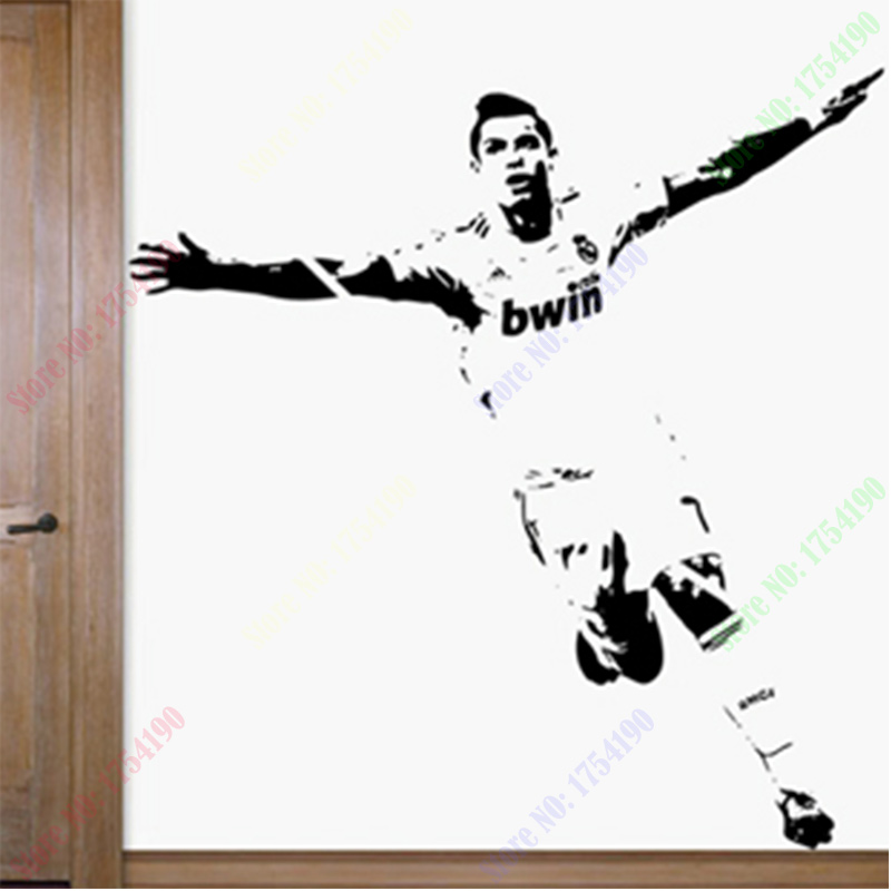 Free Shipping New Home Decor Wall stickers 1110mm*1180mm PVC Vinyl Removable Art Mural Home decor Football Cristiano Ronaldo(China (Mainland))
