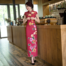 Buy Long Style Women's Satin Cheongsam Hot Sale Traditional China Qipao Vestido Elegant Dress Size S M L XL XXL XXXL 6X5809 for $46.90 in AliExpress store