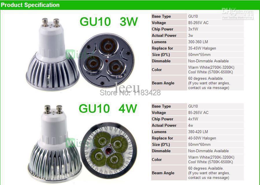 10PCS Led Lamp Dimmable GU10 3W 4W 5W 6W 8W 9W 10W 12W 110V-240V Led Spotlight led bulb + TF card for gift 2G 4G 8G(China (Mainland))