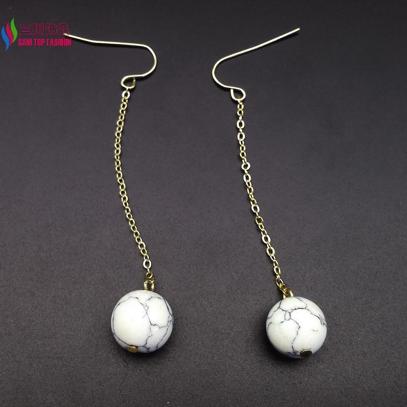 hot sale gift jewelry fashion gold/ silver chain nature white turquoise dangle earrings for women brincos de gota feminino(China (Mainland))
