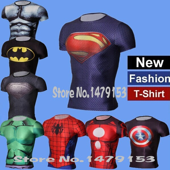 [해외]2015 GYM T Shirt Print superman Batman Iron Man Op..